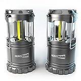2 x HeroBeam LED Laterne – COB Technologie mit 300 LUMEN! – AKKUS ENTHALTEN - Zusammenklappbare Campinglampe – Großartig bei Camping, im Auto, Schuppen, Dachboden, Garage & Stromausfällen (TWIN PACK)
