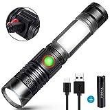LED Taschenlampe USB Wiederaufladbare Superhelle COB Arbeitsleuchte Werkstattlampe (Inklusive 18650 Batterie) Zoombar Handlampe für Outdoor Camping Wandern Sports Search Rescu