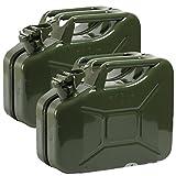 Oxid7 2X Benzinkanister Kraftstoffkanister Metall 10 Liter Olivgrün mit UN-Zulassung - TÜV Rheinland Zertifiziert - Bauart geprüft - für Benzin und Dies