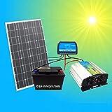 1A-INNOVATION SOLAR VORSPRUNG DURCH SONNENENERGIE 100W Solaranlage Komplettpaket 220V TÜV Komplettset Qualitäts Akku 100Ah wartungsfrei 100W Hochleistungs Solarmodul 1000W Qualitäts- Spannungswandler