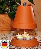 ▀ Teelichtofen ▀ für bis zu 5 Teelichter Teelichtheizung Teelichtkamin bemalbar Kerzenofen Tischkamin Mückenschutz Garten Terrasse bekannt aus Stern TV Duft Kerzen Heizung Wohnzimmer Ofen 23cm