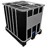Werit 1000l IBC Container SCHWARZ auf Kunststoffpalette Deckelgröße DN 150, Armaturgröße S60x6 Grobgewind