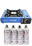 B Camping Gaskocher mit 4 Gaskartuschen Campingkocher 1-flammig max. Leistung 2,1 KW Farbe Blau oder Schwarz