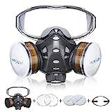 Atemschutzmaske NASUM Schutz Halbmaske mit Schutzbrille für Farbspritz, Staub, Schutz Geruchsminderung für Sprüh-, Sanierungs-,Lackier- und Schleifarb