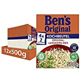 Ben's Original Original Langkorn Reis, 10 Minuten Kochbeutel, 12 Packungen (12 x 500g)