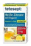 tetesept Heiße Zitrone mit Ingwer – Instant Pulver zuckerfrei mit Zink & Vitamin C - Abwehrkräfte und Immunsystem unterstützen – 1 Packung à 10 Beu