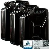 Oxid7 3X Benzinkanister Kraftstoffkanister Metall 20 Liter Schwarz mit UN-Zulassung - TÜV Rheinland Zertifiziert - Bauart geprüft - für Benzin und Dies