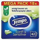 Tempo Toilettenpapier feucht Tempo feuchtes Toilettenpapier sanft&sensitiv Trio-Pack (18 Packungen x je 42 Blatt), Großpackung, 1 kg