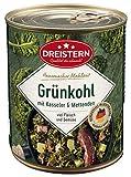 DREISTERN Grünkohl mit Kasseler und Mettenden 800 g I leckeres Fertiggericht mit Gemüse in der praktischen recycelbaren Konserve I köstliche Kombination Kasseler& Mettenden - Qualität die schmec