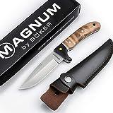 Böker Magnum® Elk Hunter scharfes Fahrtenmesser - feststehendes Messer mit Parierelement - Robustes Jagdmesser mit Leder-Scheid