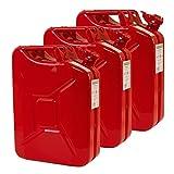 3x 20 Liter Benzinkanister Metall GGVS mit Sicherungsstift rot Blech 3er S