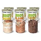 ration1 Probierpaket Brot im 6er Pack - 10 Jahre haltbar! 2x Roggenmischbrot, 2x Weißbrot, 2x Fitnessbrot - sofort verzehrfertig!