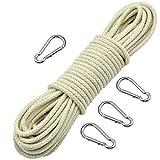 Wandefol Outdoor-Seil Fahnenseil Kletterseil aus Reißfastem Baumwolle mit 4 Alu-Lagierung Hakenklammern, 6mm 25m für Garten Camping Haush
