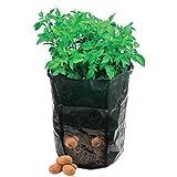 AmgateEu Beutel / Übertopf / Wanne / Tasche zum Anbauen von Kartoffeln und Gemüse für den Garten, mit Klappe für die Ernte, umweltfreundliches, wasserdichtes PE, 2er-Pac
