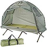 Semptec Urban Survival Technology Campingbett: 2in1-Zelt mit Alu-Feldbett, 1200 mm Wassersäule, 193 x 78 x 160 cm (Liegezelt)
