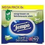 Tempo Sanft und Sensitiv feuchtes Toilettenpapier Riesenpackung (16 Packungen x je 42 Tücher)