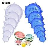 DigHealth Dehnbare Silikondeckel, 12 Teiliges Silikon Stretch Deckel, BPA Free Wiederverwendbar Silikon Abdeckung, Universal Silikon-Frischhalte-Deckel für SchüSseln, TöPfe, GläSer, Dosen, Becher