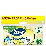 Zewa Toilettenpapier Bewährt Kamille Riesenpackung, 7 X 8 Rollen Mit Je 150 Blatt, 7 Packung