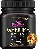 Manuka Honig | MGO 550+ (UMF 15+) | 250g | Das ORIGINAL aus NEUSEELAND | HOCHAKTIV, PUR, ROH & ZERTIFIZIERT | Premium Qualität 100% natürlich | PowerFabr