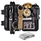 TRSCIND Survival Kit Set, Camping und Reisen - Notfall Set mit Klappmesser, Feuerstarter, Taschenlampe, Tactical Pen und Weiterem Zubehör
