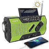 Solar Radio, Kurbelradio AM/FM Wiederaufladbare Dynamo Radio Wasserdicht LED Dynamo Lampe Powerbank für Wandern,Camping,Ourdoor,Notfall(Grün)