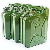 Oxid7 3X Benzinkanister Kraftstoffkanister Metall 20 Liter Olivgrün mit UN-Zulassung - TÜV Rheinland Zertifiziert - Bauart geprü