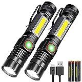 Karrong LED Taschenlampe Magnet Aufladbar, Super Helle CREE Taschenlampen, Taktische USB Taschenlampe mit Zoom für Camping, Wandern und Notfälle (mit 18650 Akku)