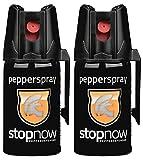 stopnow Pfefferspray Abwehrspray KO-Spray Selbstverteidigung Jet-Sprühstrahl (2 Spray - Vorteils-Doppelpack)