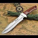 NedFoss Fahrtenmesser Rambo Messer  Survival Messer Camping Jagdmesser Outdoormesser Gürtelmesser Überlebensmesser - aus einem Stück 5Cr13Mov Stahl, Vergrößerte Versio