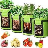 Kartoffel Pflanzsack, atmungsaktiver Gartenpflanzbeutel aus Vliesstoff mit Griff und Beobachtungsfenster, verwendet für Kartoffeln, Tomaten, Süßkartoffeln und Blumen,4er Set (10 Gallonen:38L, Grün)